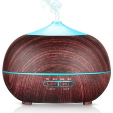 Liu Nian Essential Oil Diffuser  400ML Wood Grain Aromatherapy Diffuser Ultrasonic Cool Mist Humidifier with 7 Color LED Lights Changing and Waterless Auto Shut-off for Bedroom Office Home Baby Room - B078S7ZCZ5