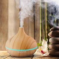 Shybuy 300ml Cool Mist Humidifier Ultrasonic Aroma Essential Oil Diffuser Wood Grain Air Purifier for Office Home Bedroom Living Room Spa Yoga with 7 Color Adjustable LED - B075STV84B