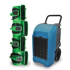 XPOWER Water Damage Cleanup & Restoration DIY Combo w/Commercial Grade Dehumidifier & Air Movers. - B07DQTMR76