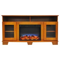 Cambridge CAM6022-1TEKLED Savona 59 in. Electric Fireplace in Teak with Entertainment Stand and Multi-Color LED Flame Display - B075QJ4KJ1