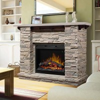 "Dimplex Featherston 61"" electric fireplace mantel with logset firebox in ledge rock - B074WDSTT4"