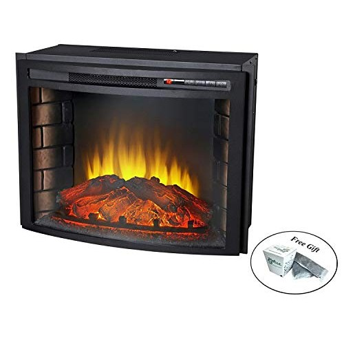 "Eight24hours 24"" Curved Electric Fireplace Insert - Firebox with Heater chimney Vent free + FREE E-Book - B075K34L3L"