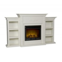 Holly & Martin Southern Enterprises Fredricksburg Electric Fireplace w/Bookcases in Ivory - B00917UCEM