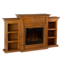 Holly & Martin Tennyson Electric Fireplace w/Bookcases - Glazed Pine - B00R9YDDZO