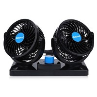 DAMAIFENG Dual Heads Electric Car Cooling Fan 12V 360 Degree Rotatable Mini Low Noise Powerful Summer Air Circulator Fan with 2 Speed Adjustable for Vehicle Truck RV SUV or Boat - B07DXPL432