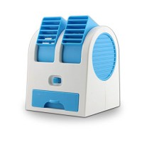 Wrisky Mini Small Fan Cooling Portable Desktop Dual Bladeless Air Conditioner USB NEW (Blue) - B01J5AGCZM