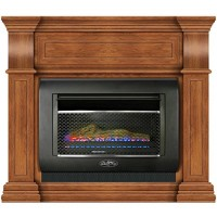 Duluth Forge Mini Hearth Ventless Gas Wall Fireplace - 26 000 BTU  T-Stat Control  Toasted Almond Finish  Model# DF300L-M-TA - B07CRN1GS2