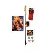 EXCURSIONS Journey To Health Fire Pit Poker Set - Fireplace Poker  Gloves and Firestarter Tool Gift Set - B07GCRB6YP