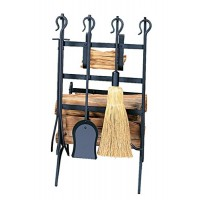 UniFlame Black Log and Kindling Rack with Fire Tools - B000XB29HS