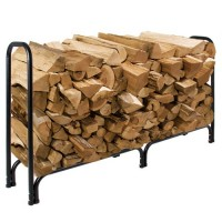 8' Firewood Log Rack Large Wood Storage Holder With Cover Heavy Duty Metal Rack - B00RYCDX1K