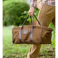 Heavy Duty Canvas Log Carrier With Leather Handles - 20 L x 10 W x 8.5 H - B076C7HVKP