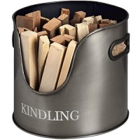 Hill Interiors Antique Pewter Metal Kindling Storage Basket (One Size) (Gray) - B07554B9KG