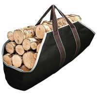Large Canvas Log Tote Bag Carrier Indoor Fireplace Firewood Totes Holders Round Woodpile Rack Fire Wood Carriers Carrying for Outdoor Tubular Birchwood Stand by Hearth Stove Tools Set Basket - B07GGY2T5B
