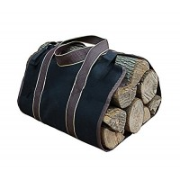 Premium Outdoor Firewood Carrier Canvas Log Tote Bags Log Carrier Best For Carrying Wood (Black) - B078XQ91TK