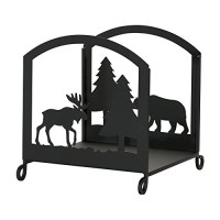 Village Wrought Iron 18 Inch Moose and Bear Wood Rack - B004FSU1I4