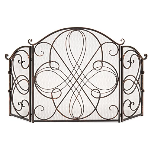 Best Choice Products 3-Panel Solid Wrought Iron See-Through Metal Fireplace Safety Screen Protector Decorative Scroll Spark Guard Cover - Black - B077VY9TRW