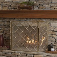 Chamberlain 3 Panelled Gold Iron Fireplace Screen - B074WCG1KK