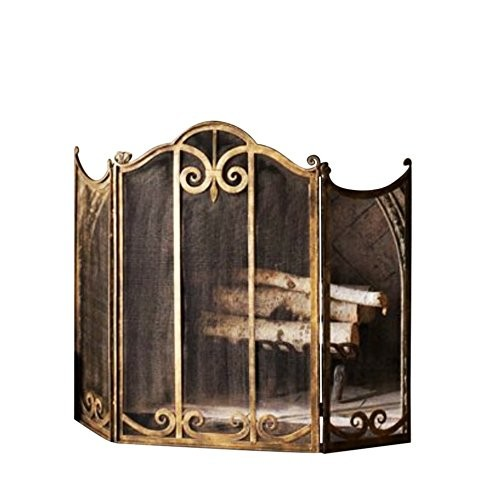 Classic Scroll Antique Gold Iron Fireplace Screen - B00A9PUWM2