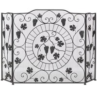 Grapevine Vineyard Fireplace Screen ~ 3 Connecting Panels ~ Iron with Metal Mesh - B01KSM5SMY