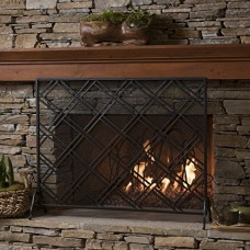 Jalama Single Panel Black Iron Fireplace Screen - B074WFSMZ5