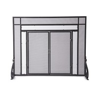 Large Fireplace Screen with Hinged Magnetic Doors  Tubular Steel Frame  Tempered Glass Accents  Metal Mesh  Free Standing Spark Guard  Decorative Design  Matte Black Finish  44 W x 33 H - B005FNJ6V6