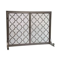 Large Steel Geometric Fireplace Screen with Doors  Durable Frame and Metal Mesh  44 W x 33 H Bronze - B01706X6JS