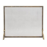 Pilgrim Home and Hearth 18254 Bay Branch Embossed Single Fireplace Panel Screen  Antique Brass - B00CI8KX7M