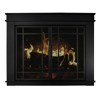 "Pleasant Hearth Fillmore Glass Firescreen  Width: 30""-37""  Height 25.5"" - 32.5"" - B00N1CKGOO"