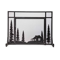 "Plow & Hearth Steel and Metal Mesh Fireplace Screen with Door  44"" W x 12.5"" D x 33"" H  Black - B00NY65ORG"