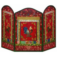 Stupell Home Décor Red Rooster 3-Panel Decorative Fireplace Screen  44 x 0.5 x 31  Proudly Made in USA - B003RXCL4A