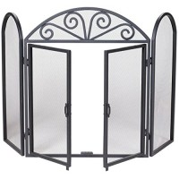 UniFlame 3-Fold Black Wrought Iron Screen with Scrolls - B000685WPE