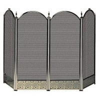 Uniflame 4-Fold Antique Brass Screen with Decorative Filigree - B003VZ26SK