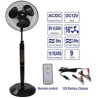 "SD LIFE 16"" Inch Rechargeable Battery Operated Pedestal Floor Fan - Black w/Remote - B07G5LBMDR"
