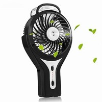 LuxLumi Tropic Humidifier Fan Spray Misting Portable Personal Handheld with Rechargeable Battery Operated for Travel Gym Kids Office Desk Bedroom Summer Festivals Camping Hiking (Black) - B07CVPZTLS