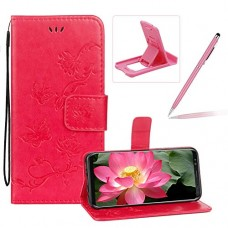 Strap Leather Case for Galaxy Note 8 Hot Pink Wallet Leather Cover for Galaxy Note 8 Herzzer Classic Pretty Butterfly Lotus Drawing Embossed Magnetic Stand Card Holders Smart Case with Soft Inner - B07GXMJQBD