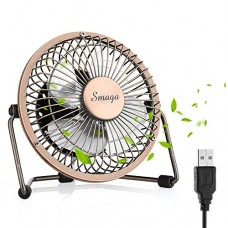 SMAGALIFE Mini USB Personal Desk Fan - 4'' & Metal & Retro & Quiet & Portable & Free Angle Rotation & ON/Off Switch & Best for Home  Household  Table  Office  School  Outdoor Travel (Bronze) - B07DJ34JV7