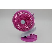 Taousa 70240 5-inch Vanes Portable Mini Clip-on Rechargeable Fan Outdoor Cooling Fan  Battery / USB Powered  Adjustable Speeds  with Battery and USB Charge Cable  Color Pink - B013DPJ608