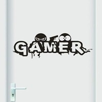 Rumas Gamer Wall Sticker Quotes Boys Room - 60 x 20 cm - Removable Art Vinyl Mural Quotes Home Office - Peel & Stick Wall Decal Quotes (Black) - B07GH1GR3W