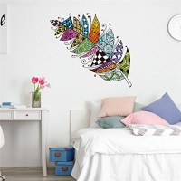 Rumas Retro Feather Wall Stickers for Kids Room  Removable DIY Colorful Wall Murals Peel and Stick  Wall Declas Home Decor for Living Room Bed Room Bathroom (Multicolor) - B07FY5Q62X