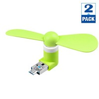 [2 Pack] Green - Nacodex Portable Cool Fan [2-IN-1] [USB 2.0/3.0] [Android Micro] Android Mobile Phone Fan Portable Dock Fan for Samsung   LG  Huawei  Sony  HTC  ZTE Other Android Phone - B01K1FA56M