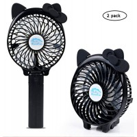 2 pack Foldable Mini Travel Handheld USB Fan with Clip  Portable Desktop Table Fans  2500mAh Rechargeable Battery  3 Speeds  for Home  Office and Travel - B07FKCX6H9