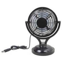"4"" Portable Desktop Cooling Fan - USB or Battery Powered (Black) - B00FEN4CZM"