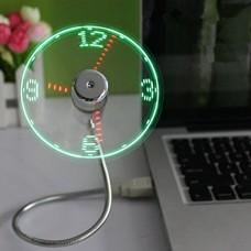 Leegor Adjustable USB Powered Mini LED Cooling Fan Flashing Real Time Display Multifunction Clock Fan - B071LTQ8X8
