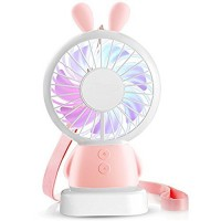 MIGZOE Mini Handheld Fan  Personal Portable Desk Desktop Table Cooling Fan with USB Rechargeable Battery Operated Electric Fan for Traveling Outdoor Office Home Use (Pink Rabbit) - B07CD8HL5L