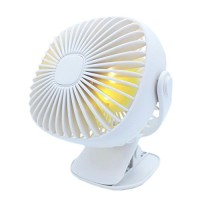 Mini Desk Fan Clip USB Charge with LED Lamp Small Quiet for Baby Stroller/Office/Working/Traveling - B07FPBC27Z