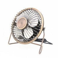 Ruigee 4-Inch Mini Desktop USB Fan 360°Rotating Desktop Small Portable Cooling Fan for Home Office (4inch  Bronze) - B07CWSFYJQ