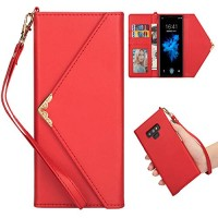 Shinyzone Stylish Envelope Design Case for Samsung Galaxy Note 9 Premium Leather Wallet Case with Credit Card Holder & Wrist Strap Handbag Magnetic Flip Cover Red - B07GJLHQYZ