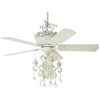 "52"" Casa Chic Rubbed White Chandelier Ceiling Fan - B01M7M6ACL"