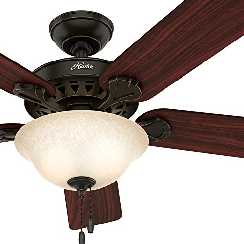 Hunter 52-inch Onyx Bengal Finish Ceiling Fan with Texture Tea Glass Light Kit (Certified Refurbished) - B01KU8KQ4Q