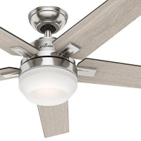 "Hunter 54"" Brushed Nickel Contemporary Ceiling Fan with Cased White LED Light Kit and Remote Control (Certified Refurbished) - B073G5RBNT"